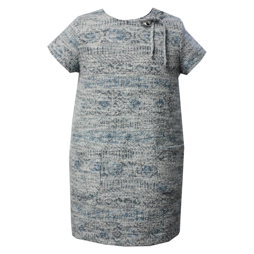 0603103 Детское платье с карманами (твид) БИРЮЗА