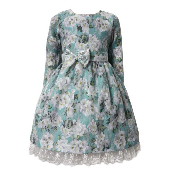 59799 Платье детское с кружевом (ангора-гипюр) ГОЛУБОЙ