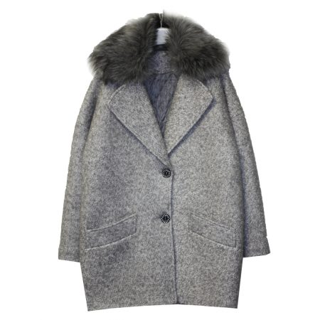 591100 Пальто зимнее утепленное (полушерсть) СЕРЫЙ