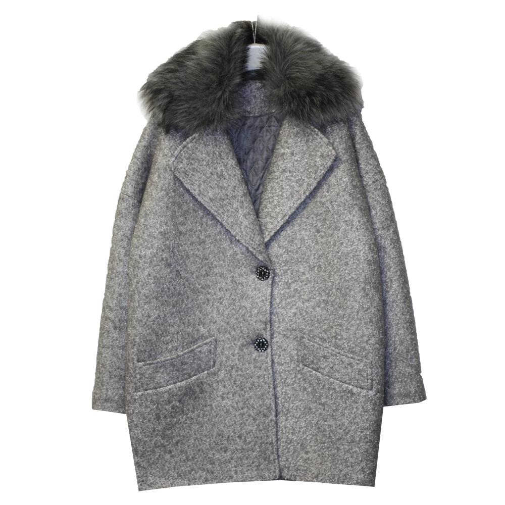 000591100 Пальто зимнее утепленное (полушерсть) СЕРЫЙ