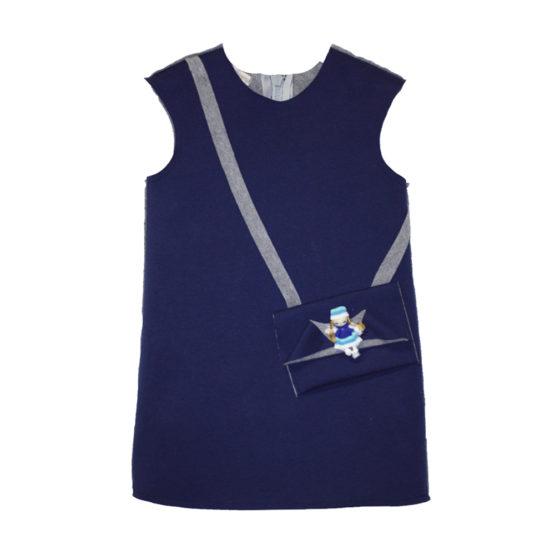 61681 Детское платье с куклой (супрем+флис) СИНИЙ