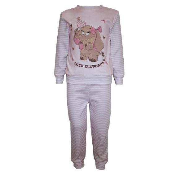 594101 Пижама комбинированная с аппликацией (интерлок) РОЗОВЫЙ (СЛОН)