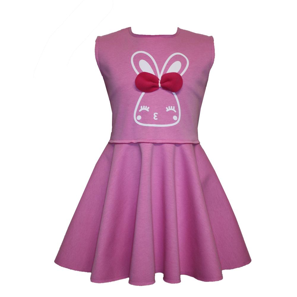 61581 Детское платье с аппликаций (супрем+флис) РОЗОВЫЙ