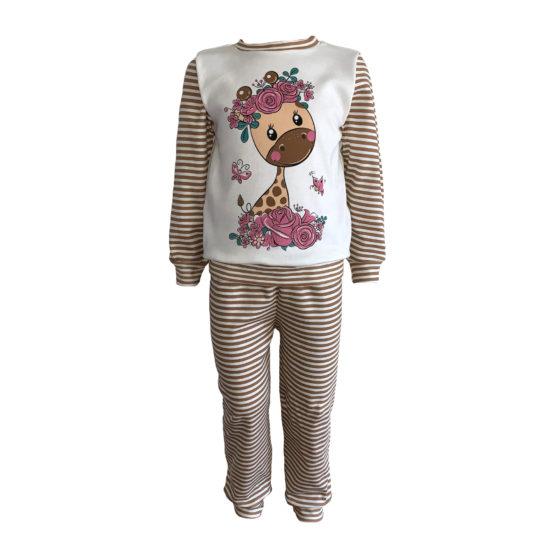 5931013 Пижама комбинированная с аппликацией (интерлок) ЖИРАФ В ЦВЕТАХ