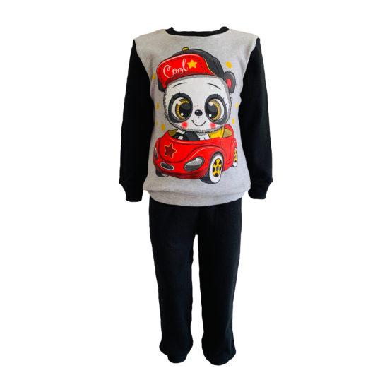 1714201 Пижама комбинированная (интерлок) ПАНДА серый+черный