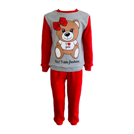 1714203 Пижама комбинированная (интерлок) МИШКА серый+красный
