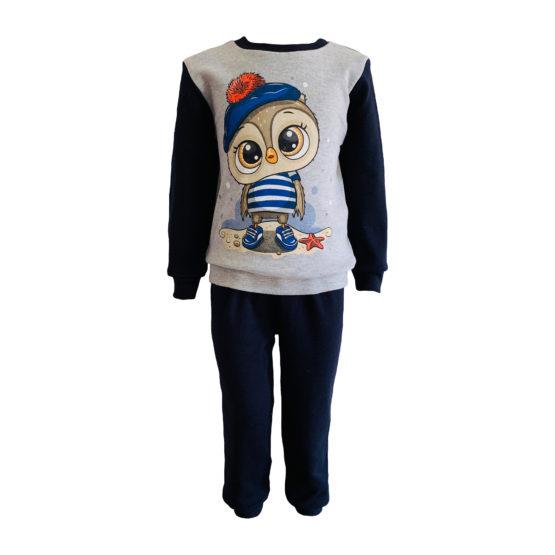 1714202 Пижама комбинированная (интерлок) СОВА серый+темно-синий