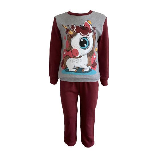 714205 Пижама комбинированная (интерлок) ЕДИНОРОГ серый+бордовый