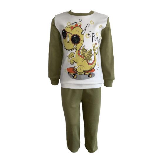 714204 Пижама комбинированная (интерлок) ДРАКОША молочный+зеленый