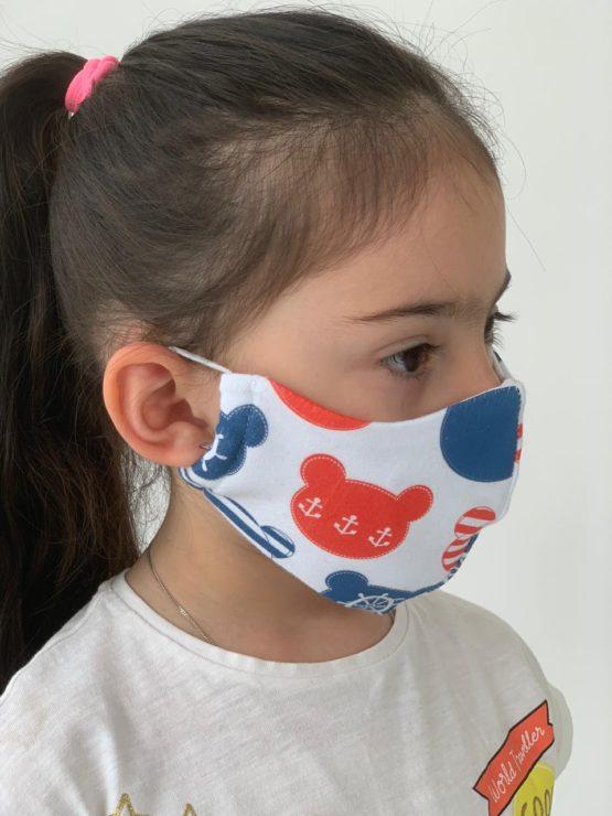 Маска для лица ДЕТСКАЯ (хлопок, 2-слоя) МИШКИ