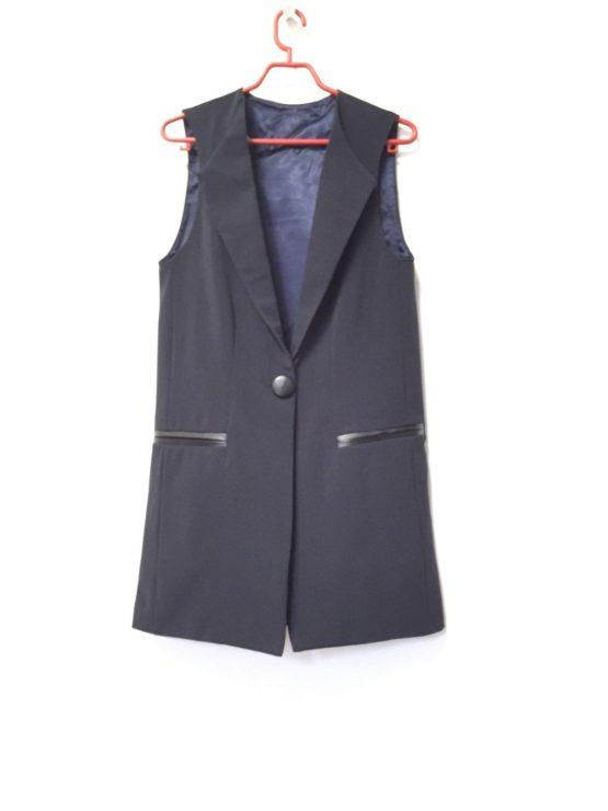 043978 Жилет (костюмная ткань) ТЕМНО-СИНИЙ