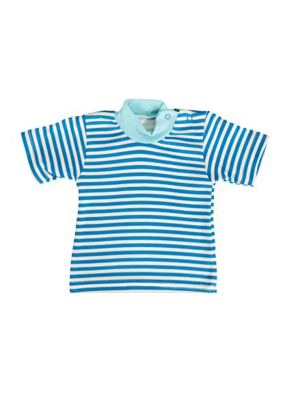 Арт. 0421, Водолазка полосатая на кнопках короткий рукав (интерлок) МИКС